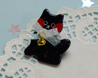 Kawaii Kitten Brooch with Bell and Bow