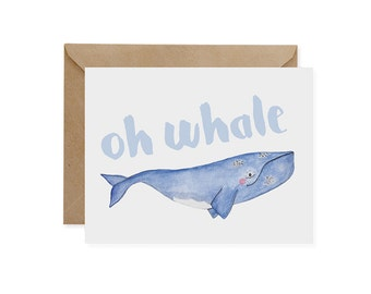 N. Atlantic Right Whale Card / Oh Whale - EcoFriendly, Greeting, Recycled, Endangered, Oceans, A2, Blank Inside, Watercolor