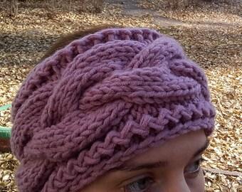 Pink Warmer Headband, Turban Headband Ear Warmer,Knitted Head Band, Wool Headband