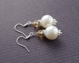 White Pearl Crystal Earrings Bridesmaid Earrings Bridesmaid Gift  Small Dangle Earrings Ivory Pearl Earrings  Ivory Weddings Bridal Jewelry