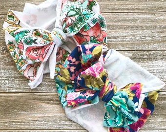 Bow Turban Headbands - Baby Head Wrap Headband - Soft Knit Jersey - Stretch Hairband - Baby Girl Gift - Boho Baby Boho Style - Floral Prints