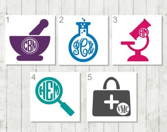 Pharmacist Monogram, Pharmacy Decal, Science Decal, Monogram Decal, Vinyl Decal