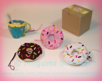 Hand-stitched Felt Glazed Doughnut Charm Ornament food fried donut pastry treat snack shop pink sugar honey dipped cute purse bag pull gift