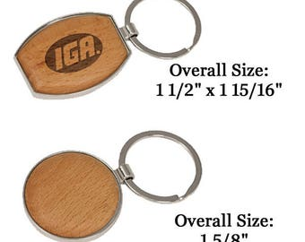 "Personalize with your logo or photo Silver/Wood Oval Keychain 1 1/2"" x 1 15/16"