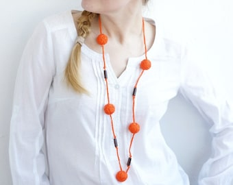 Orange long beads handmade necklace thread cotton for women lace textile wooden beads natural bright