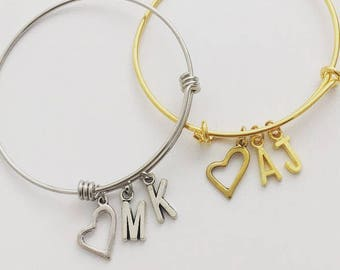 Silver or Gold Bangle Bracelet, heart and initials