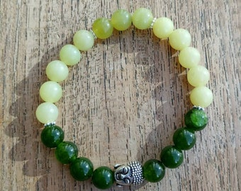 Peridot and emerald bracelet,natural gemstones,handmade,healing stones,chakra,jewellery,reiki,gift for women, yoga,energy,elasticated,beaded