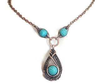 Turquoise wire necklace, wire statement necklace, wire wrapped necklace copper, turquoise jewelry copper wire necklace gemstone jewelry