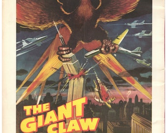 """Vintage Horror Science Fiction Movie Poster, 1957, The Giant Claw, PMSF 8"""" x 10"""", Vintage Science Fiction Print"""