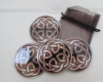 Gold and brown coasters
