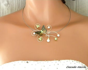 Butterfly Juline Pearl bridal necklace wedding 3D white lime green