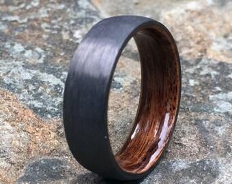 Carbon Fiber Ring, Wood Ring, Wood Inlay Ring, Engagement Ring, Wedding Ring, Wood Wedding Band, Mens Ring, Bentwood Ring, Rosewood Ring