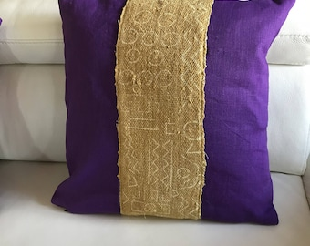 Red tribal Bogolan and purple linen pillow cover