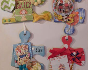 Mary Engelbreit, Altered Art Puzzle Pieces, Scrapbook Embellishments, Gift Tags