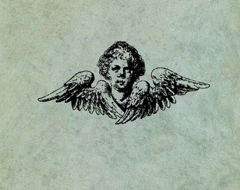 Winged Angel Cherub LARGE - Antique Style Clear Stamp