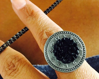 Petite Steampunk Ring// Upcycled accent // Clock // Antique silver & black