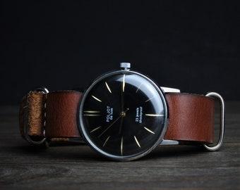 Vintage watch, Poljot watch, Ultra rare watch, Wrist watches for men, Black watch, Mechanical watch, Retro watch, Russian watch, Rare watch