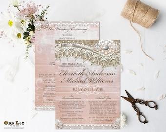 Rustic Lace Wedding Program Pink Lace Wedding Ceremony Program Rustic Wedding Country Rustic Cottage Chic Printable Wedding Programs DIY