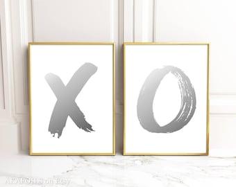 X O Print - X O  Wall Art - Set of 2 Prints Real Silver Foil Prints - X O Art Pictures - X O Wall Decor - XO print - Silver X O Foil