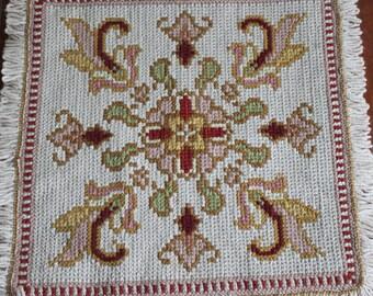 Vintage floor cushion cover// Arraiolos tapestry// Portugal folk art
