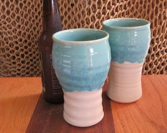 Pottery Beer Mug Tumbler in Turquooise Glaze