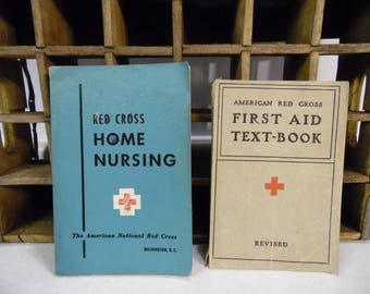 American Red Cross books, paper back, home nursing 1950, first aid text book 1940