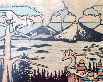 Art Print: Cougar View over Volcanos, Mount Hood, Mount Saint Helens, Valley, Marker Tree, Cairns, Fog, Clouds