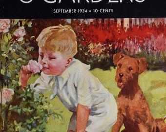 Sept 1934 Better Homes & Gardens Magazine Cover - CH Taffs Art - Boy Smells the Roses, Airedale Terrier Dog - Vintage Art To Frame