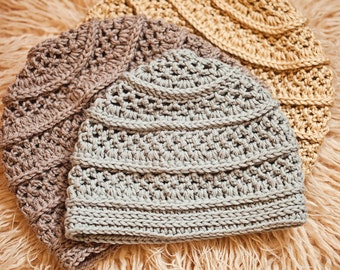 Crochet hat PATTERN - Textured Beanie (sizes baby to adult) Instant download