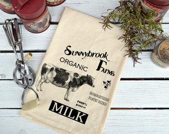 Cow Flour Sack Towel, Flour Sack Dish Towels, Farmhouse Dish Towel, Cow Lover's Gift, Tea Towels, Tea Towels Flour Sack, Sunnybrook Farms
