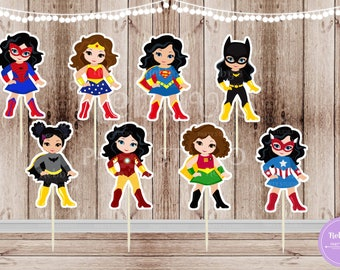 Superhero Girl Party - Set of 16 Assorted Superhero Girls Inspired Double Sided Cupcake Toppers