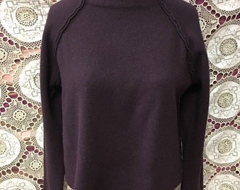 Vintage Sweater Sarah Pacini Made In Italy Wool Blend Crop Top One Size Burgundy Brown Wool Top Mock Turtleneck Pullover Sweater