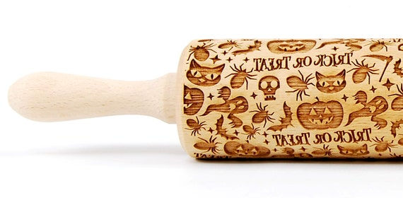 Halloween -  engraved rolling pin, embossing rolling pin