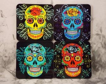 Sugar Skull Coasters - Color Set - Set of 4 - Sugar Skull Coasters