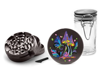 Colorful Mushrooms Metal Grinder Herb With Catcher Set, 4 Piece Grinder with Free Herb Jar, Girly Grinder, for Girls, Gifts for Smokers 041