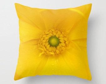 Ranunculus Flower Pillow Botany Yellow Woodland Forest Decor Flower Pillow Home Decor Nature