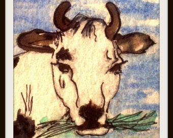 ACEO print cow eating grass is on heavy card stock