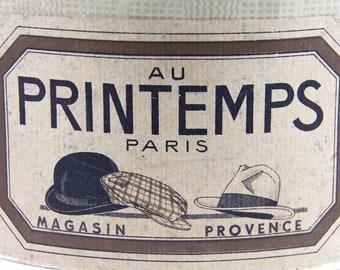 Antique French Hat Box, Parisian Hat Box, Department Store Au Printemps, Jeanne D'arc Living.  French Nordic Style