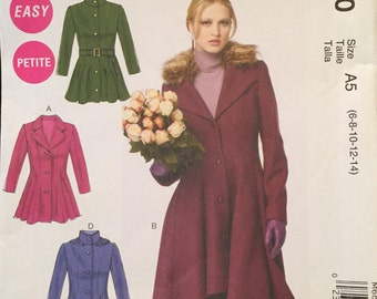 McCall's Coat,Jacket Pattern Fitted Waist, Flared Hip, Waterfall Hem, Two Lengths,2 Hemlines, 2 Collar Hood Option Size 6-14 Pattern M6800