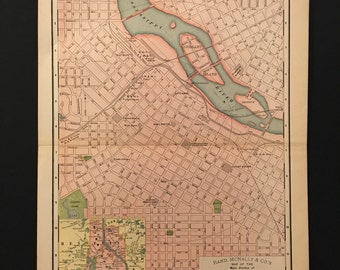 1903 Map of Minneapolis, Original Antique Color Map, Vintage Rand McNally Map