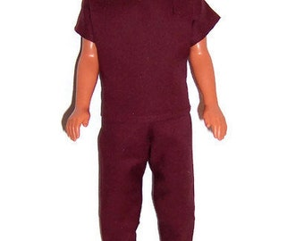His Fashion Doll Clothes-Burgundy Scrub Set