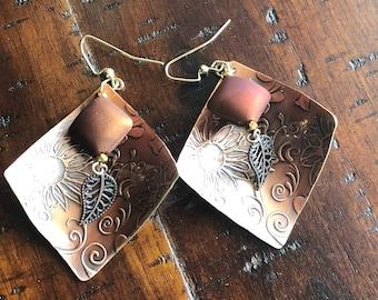 Copper Beaded Dangle Earrings