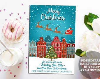Rustic Christmas Invitation, Christmas Flyer, Santa Claus Flyer, Christmas Party Flyer Santa, Claus is coming to town, pdf editable