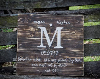 Wedding sign Initials add a bible verse or quote