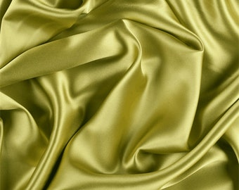 Chartreuse Silk Charmeuse, Fabric By The Yard