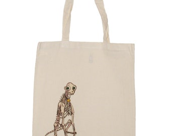 Skeleton Cat Mr Pofkins Canvas Tote Reusable Shopping Bag