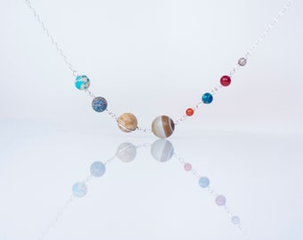 Solar System Necklace - Stone Bead Planets Universe Galaxy Nebula Space - Sterling Silver