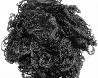 Black Ruffle Scarf