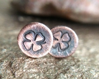 Small Rustic Copper Studs - Lucky Irish / Shamrock / Four Leaf Clover Earrings - 7th Anniversary Jewelry Gift for Her