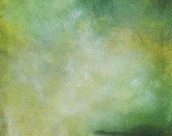 Green and Gold Painting - Living Room Decor - Small Painting - Lustered Lake--Build A Painting series